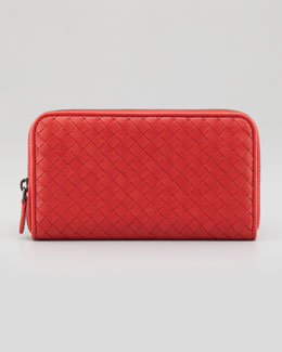 Bottega Veneta Continental Zip-Around Wallet, Red