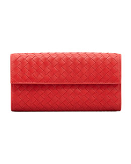 Bottega Veneta Woven Flap Organizer, Red