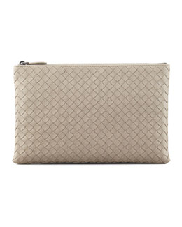 Bottega Veneta Extra Large Flat Cosmetic Bag, Light Gray