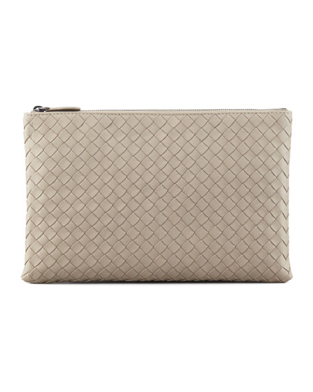 Extra Large Flat Cosmetic Bag, Light Gray
