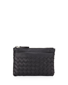 Bottega Veneta Zip-Top Woven Leather Key Pouch, Black