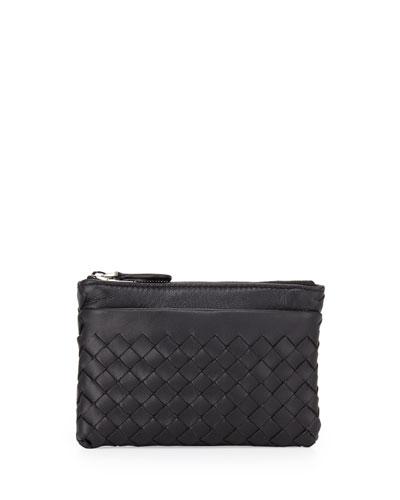Bottega Veneta Zip-Top Woven Leather Key Pouch, Black