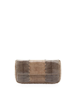 Bottega Veneta Snakeskin Tri-Fold Envelope Clutch Bag, Bronze/Gray