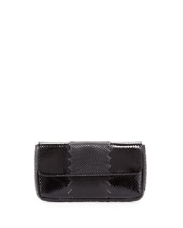 Bottega Veneta Snakeskin Tri-Fold Envelope Clutch Bag, Black