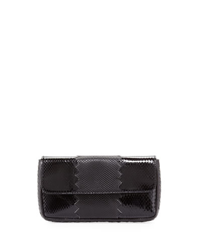 Bottega Veneta Snakeskin Tri-Fold Envelope Clutch Bag, Black