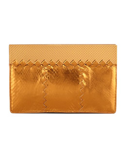 Bottega Veneta Metallic Snake Wallet Clutch Bag, Gold