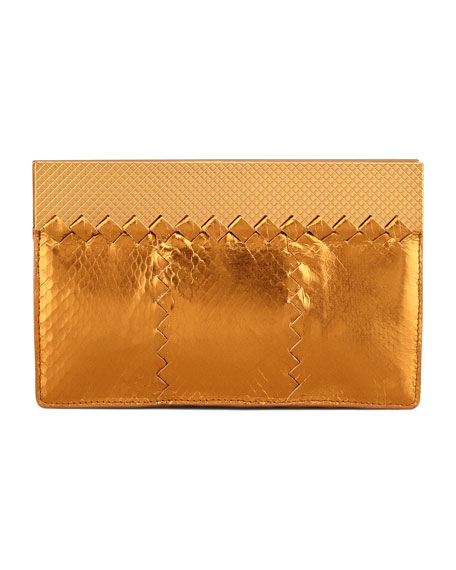 Metallic Snake Wallet Clutch Bag, Gold