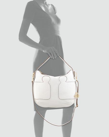 Amalie Adjustable-Strap Hobo Bag, Ivory