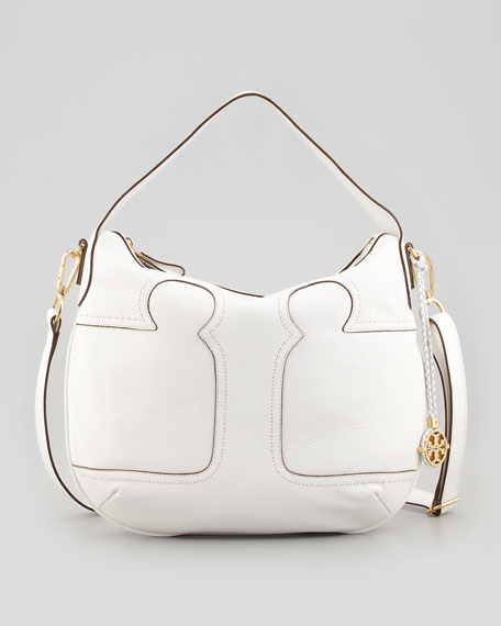 Amalie Adjustable-Strap Hobo Bag, Ivory