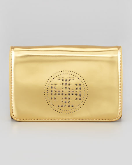 Perforated Logo Clutch Bag, Golden