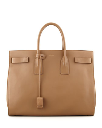 Classic Sac De Jour Leather Tote Bag, Beige