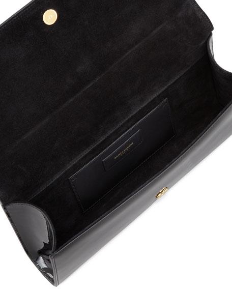 Cassandre Patent Leather Logo Clutch, Black