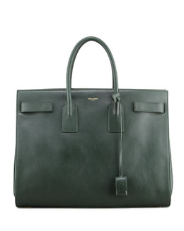Saint Laurent Classic Sac De Jour Leather Tote Bag, Green