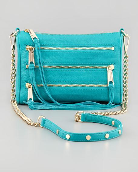 Five-Zip Mini Crossbody Bag, Sea Green