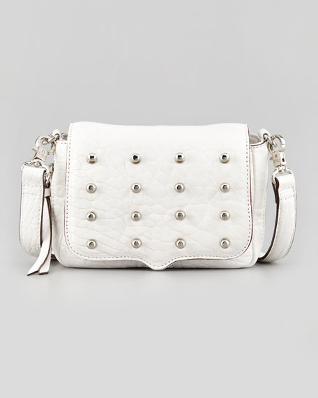 Mini Connor Leather Crossbody Bag, White
