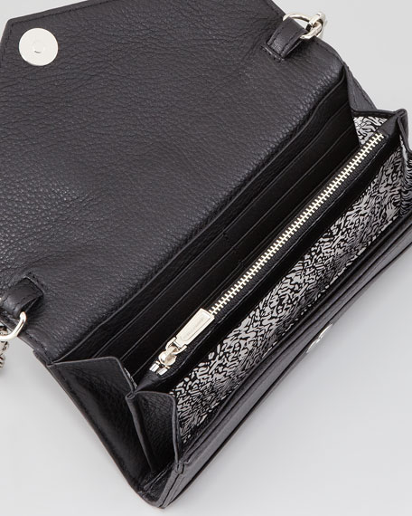 Studded Chain-Strap Wallet, Black
