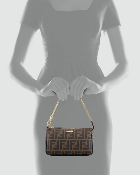 Mini Chain-Strap Zucca Pochette Bag, Brown