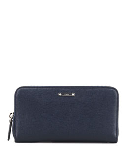 Fendi Saffiano Zip-Around Continental Organizer Wallet, Navy