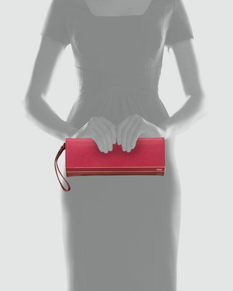 Rush Colorblock Clutch Bag, Rose/Cherry
