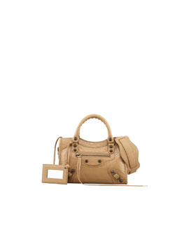 Balenciaga Classic Mini City  Bag, Beige Nougatine