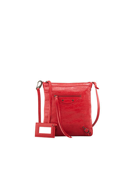 Classic Flat Crossbody Bag, Rouge Cardinal