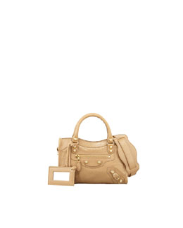 Balenciaga Giant 12 Golden Mini City Bag, Beige Nougat