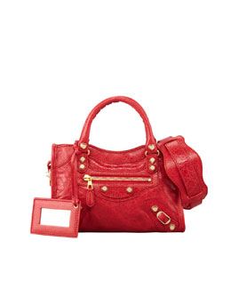 Balenciaga Giant 12 Golden Mini City Bag, Rouge Cardina