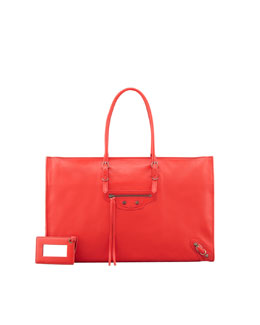 Balenciaga Papier Office Zip Leather Tote Bag, Rouge