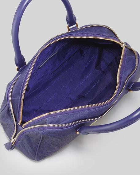 Washed Up Lauren Leather Satchel Bag, Electric Blue