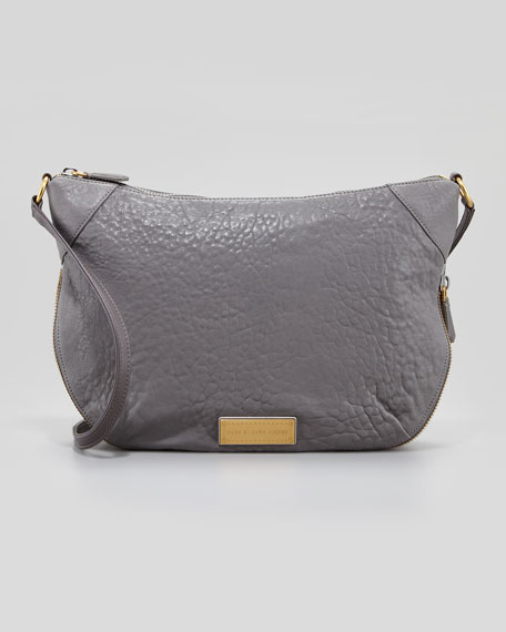 Washed Up Leather Messenger Bag, Cylinder Gray