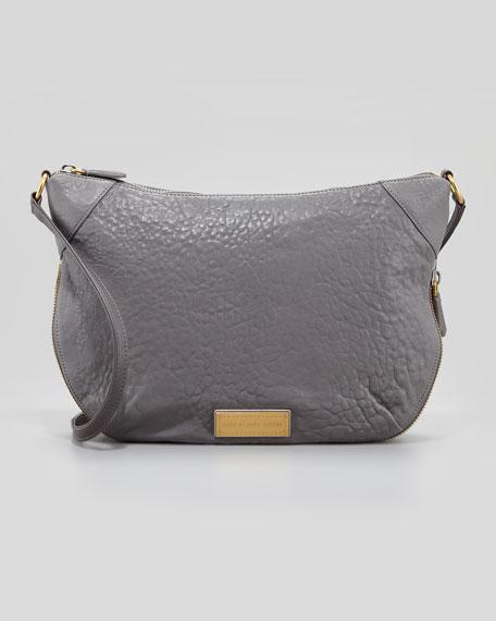 Washed Up Leather Messenger Bag, Cylinder Gray