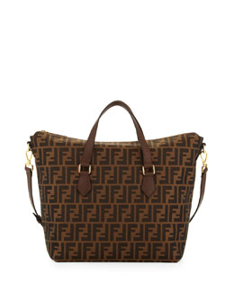 Fendi Zucca Large Zip-Top Tote bag, Tobacco/Chestnut