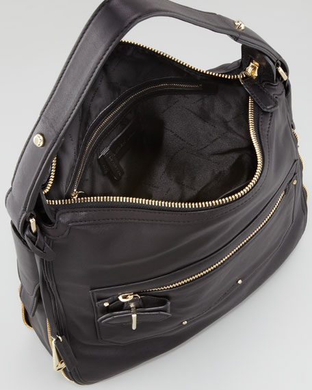 Crosby Small Leather Hobo Bag, Black