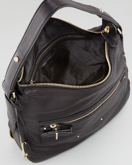Crosby Small Leather Hobo Bag, Black