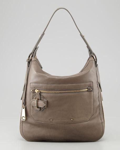 Crosby Small Leather Hobo Bag, Shark