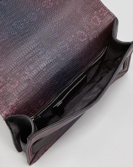 Ombre Lizard-Print Mini Crossbody Bag, Oak Shark