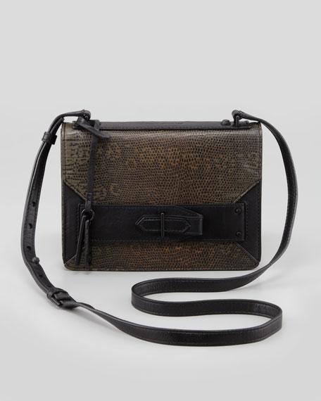Ombre Lizard-Print Mini Crossbody Bag, Wine Petrol