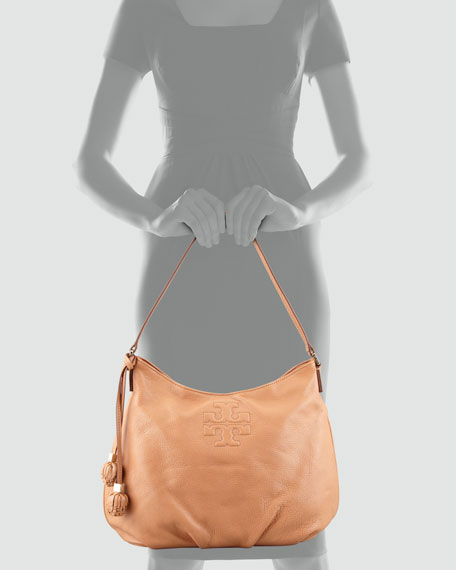Thea Pebbled Leather Hobo Bag, Nutmeg