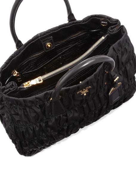 Prada Nylon Gaufre Tote Bag, Black (Nero)