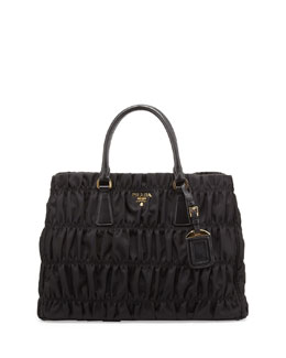 Prada Nylon Gaufre Tote Bag, Black
