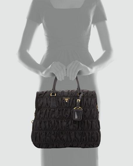 Nylon Gaufre North-South Tote Bag, Black (Nero)
