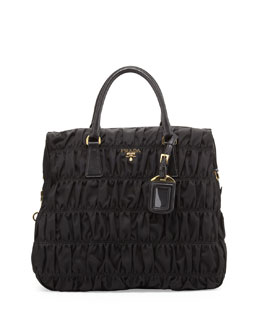 Prada Nylon Gaufre North-South Tote Bag, Black