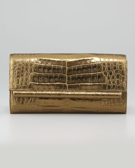 Small Crocodile Bar Flap Clutch Bag, Bronze