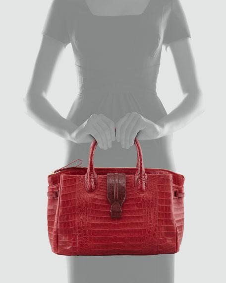 Cristina Medium Center-Zip Crocodile Tote Bag, Red