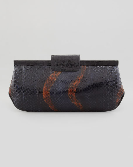 Slim Python Frame Clutch Bag, Purple