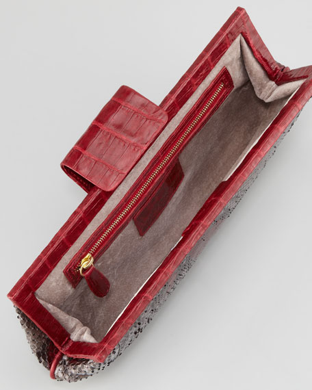 Slim Python Frame Clutch Bag, Red