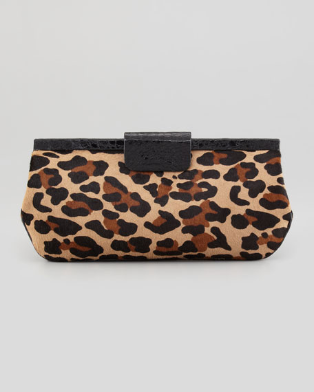 Slim Frame Leopard-Print Calf Hair Clutch Bag