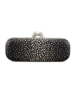Alexander McQueen Studded Twin-Skull Box Clutch Bag, Black
