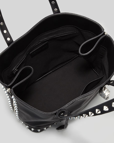 Studded Leather Padlock Shopper Bag, Black