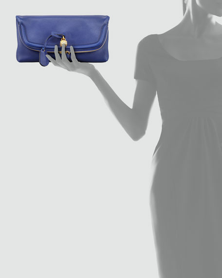 Skull Padlock Fold-Over Clutch Bag, Royal Blue